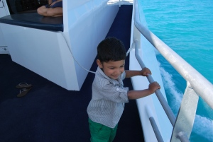Callum enjoying the Ferry ride to Hamilton Island