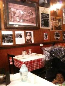 Restaurant wall telling many stories in Latin Quarter, Paris