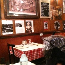 Restaurant wall telling many stories in Latin Quarter, Paris